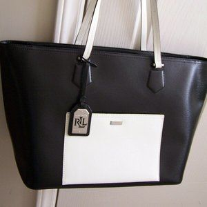 Lauren Ralph Lauren Black White Leather Tote Bag